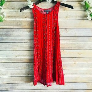 KENDALL & KYLIETRIBAL BOHO RED LACE UP DRESS